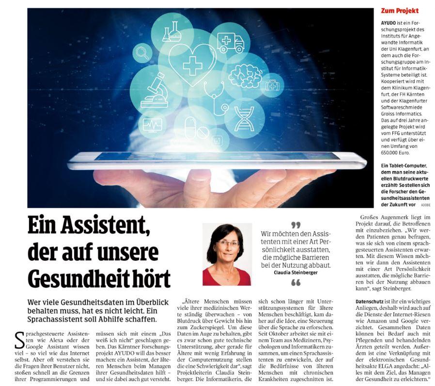 Zeitungsausschnit Kleine Zeitung 2019-12-01